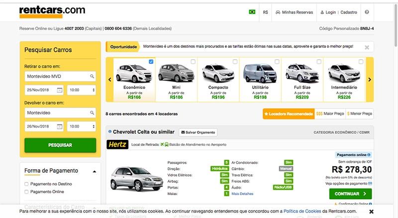 Preço para alugar carro no Uruguai