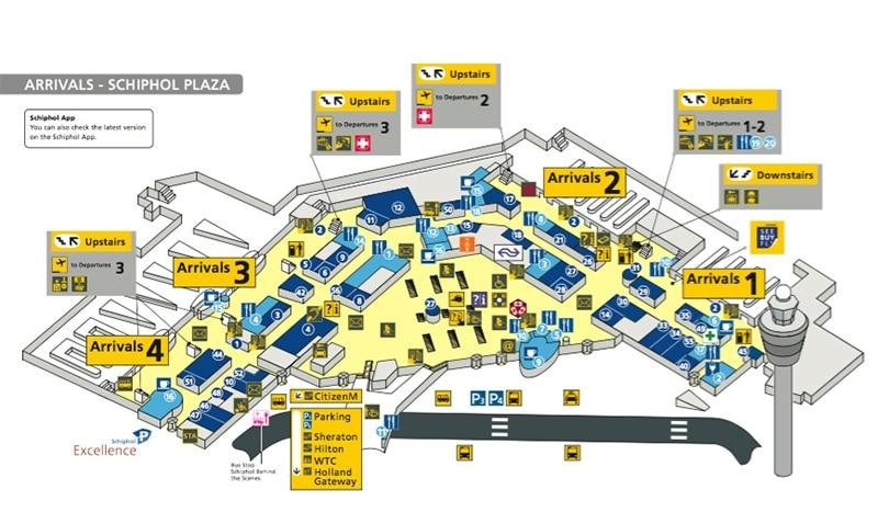 Mapa do aeroporto de Amsterdam