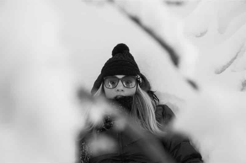 Óculos de sol no inverno do Canadá