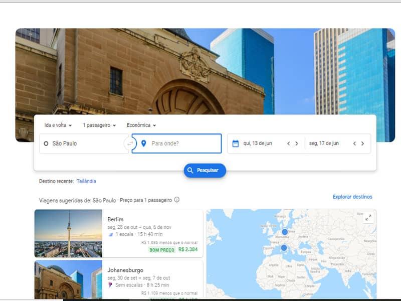 Pesquisa de passagem área no Google Flights