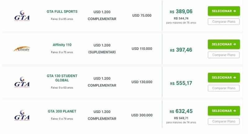 Preço de seguro viagem na América do Sul