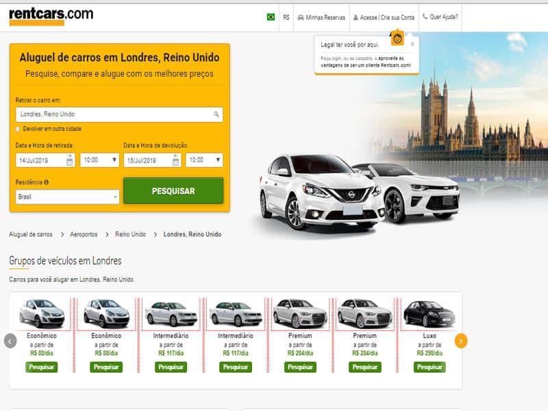 Melhor site comparador de aluguel de carro na Inglaterra