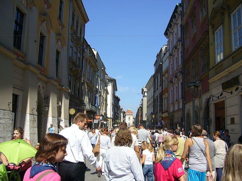 Ruas para compras em Cracóvia
