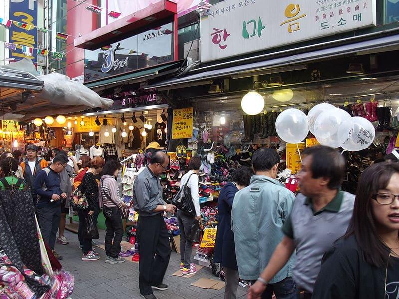 Ruas para compras em Seul