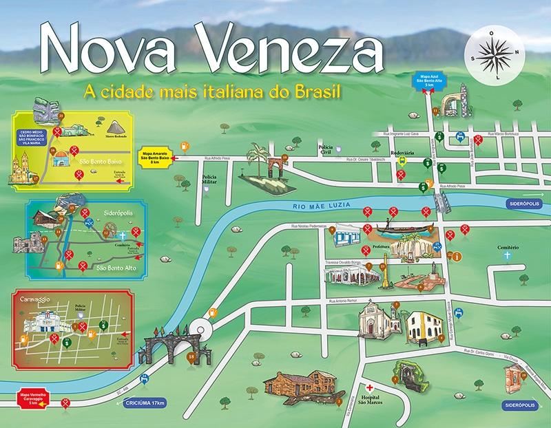 mapa turístico de Nova Veneza