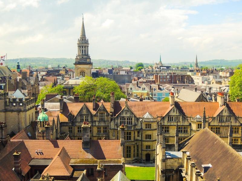Oxford no mapa da Inglaterra
