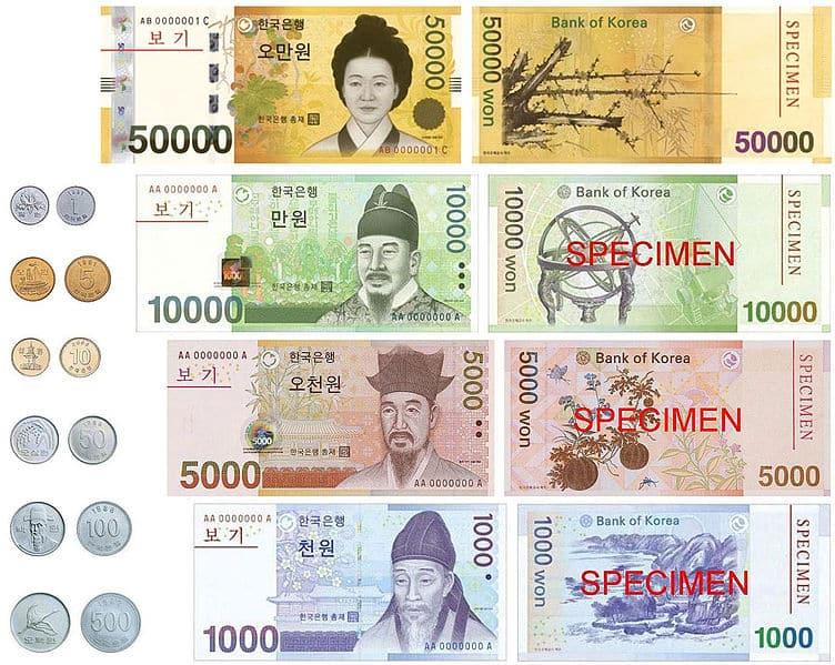 won sul-coreano iene