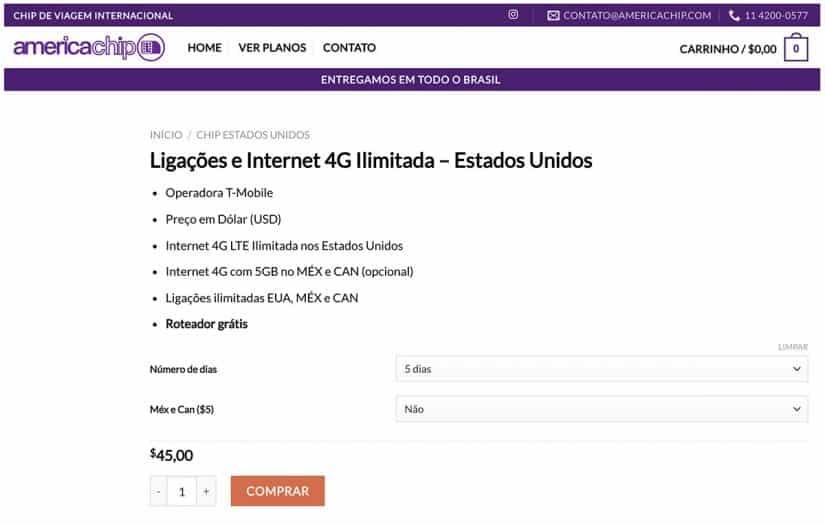 Chip celular EUA internet