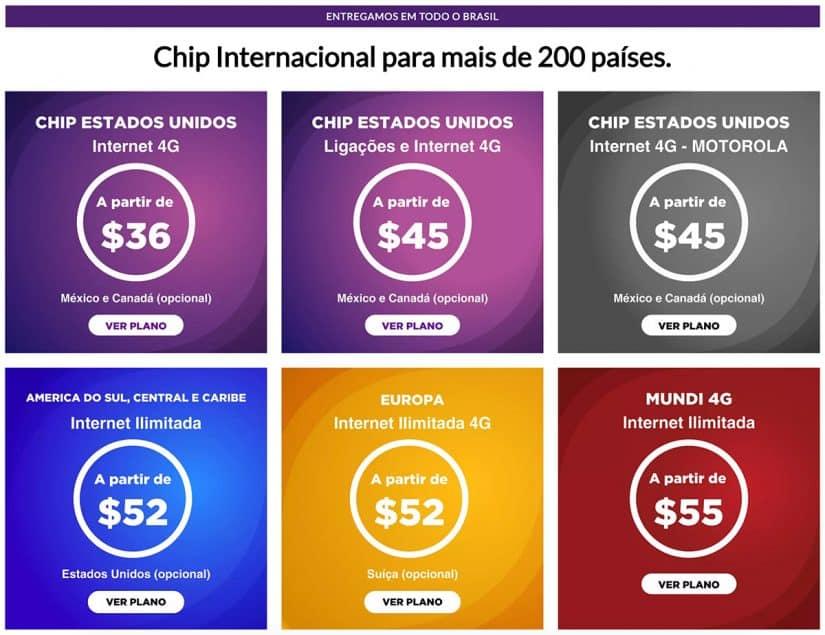 Chip internacional EUA