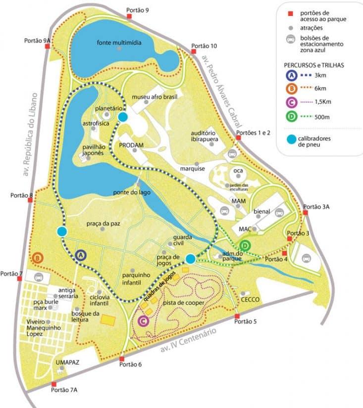 Parque do Ibirapuera mapa