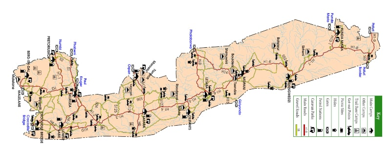 Self Drive no Kruger Mapa