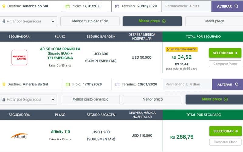 seguro viagem colombia preço