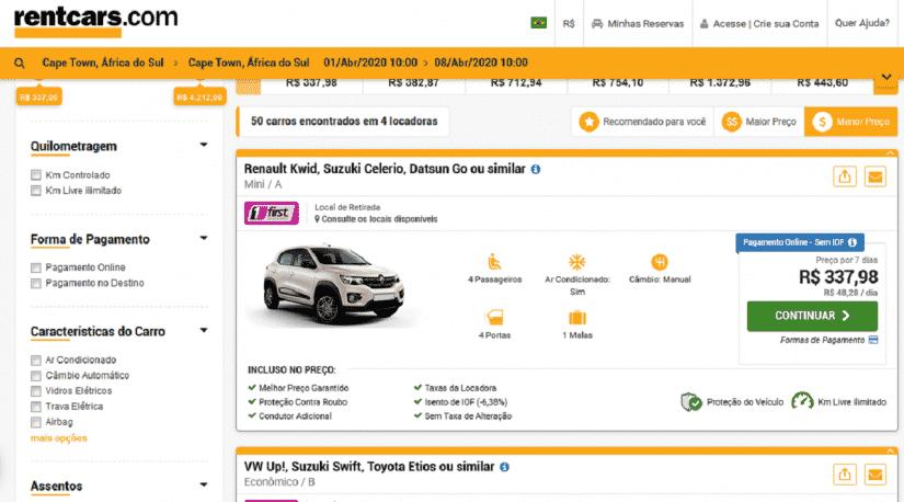 Alugar carro na África do Sul