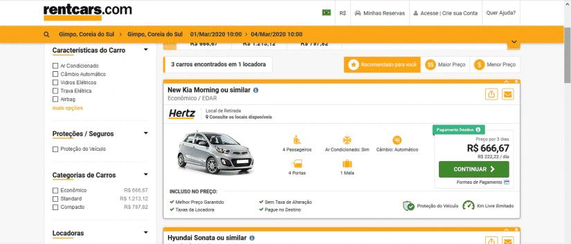 Aluguel de carro na Coreia é caro?