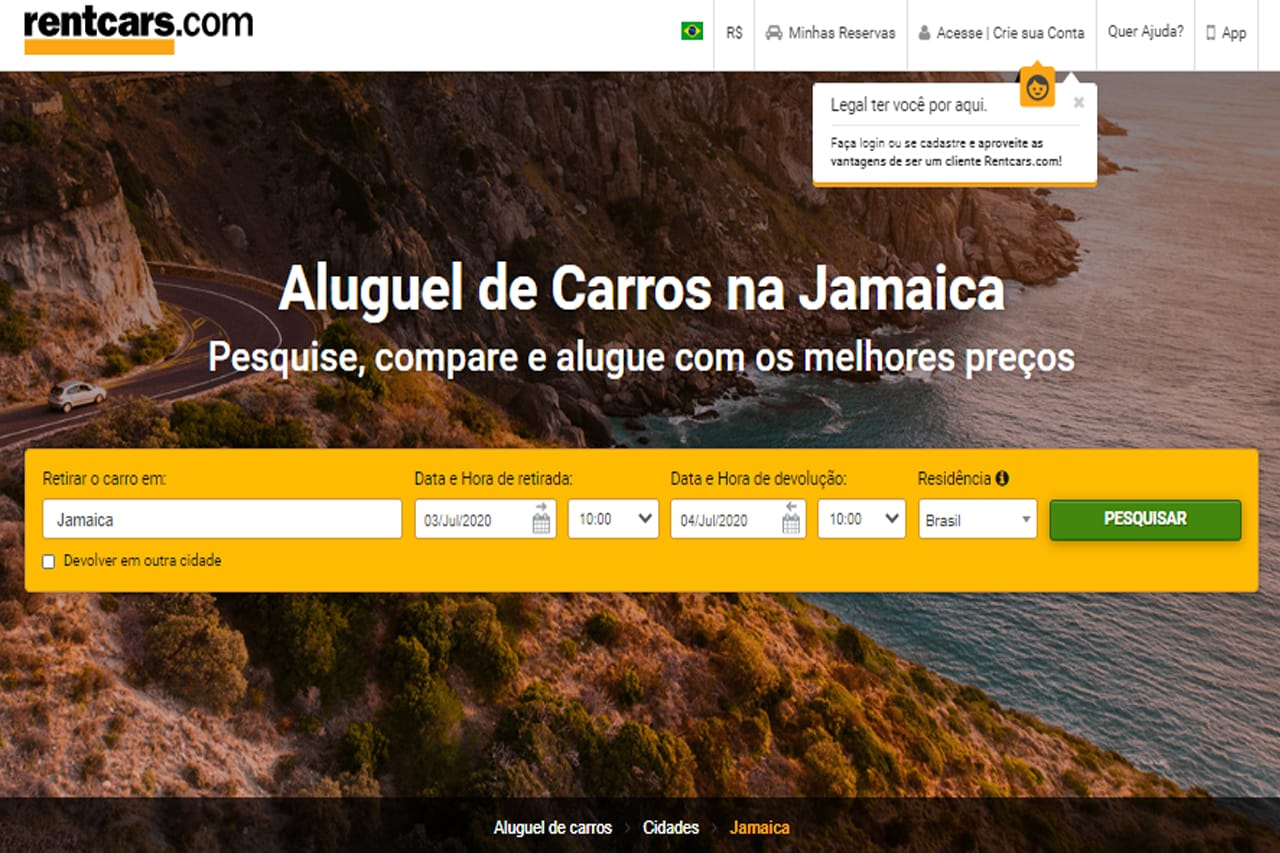 Aluguel de carro na Jamaica pela Rentcars
