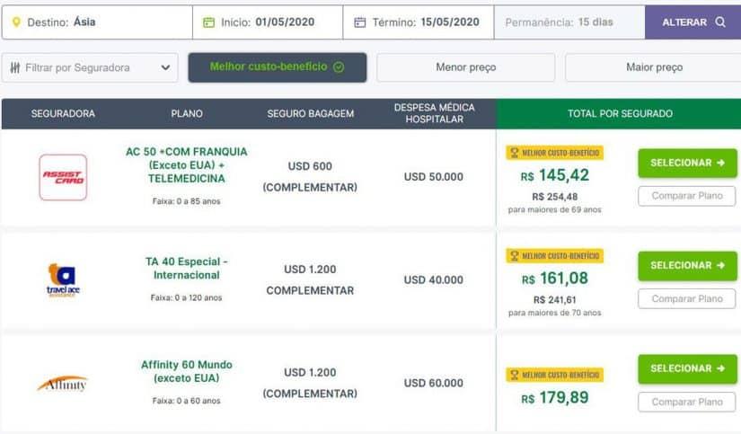 seguro viagem internacional Ásia