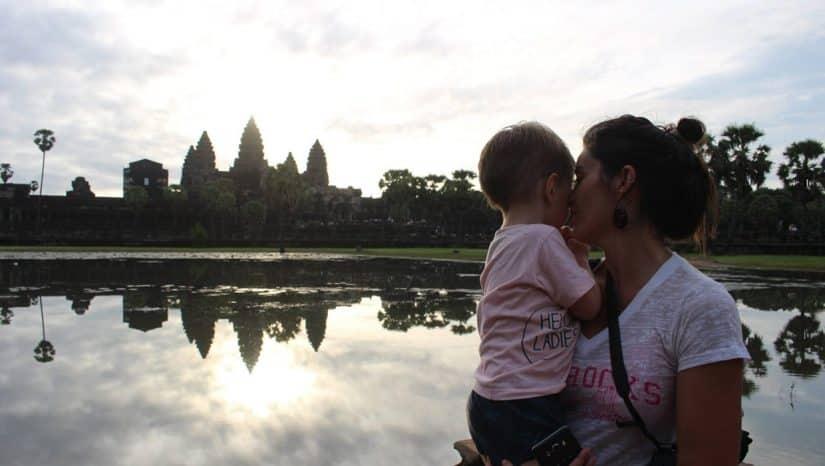 familia viagem camboja