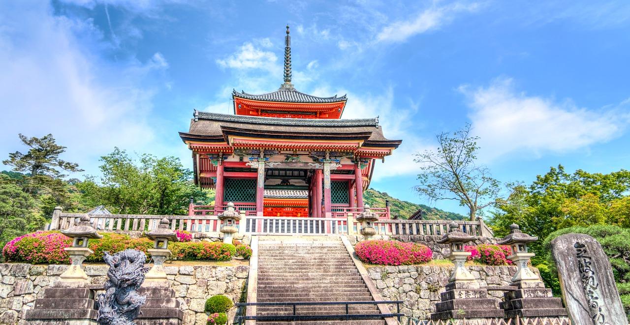 Templo com arquitetura japonesa