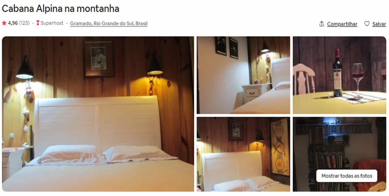 Airbnb Gramado rua coberta