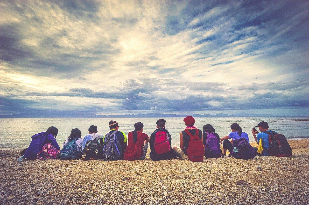 Fotos na praia com amigos