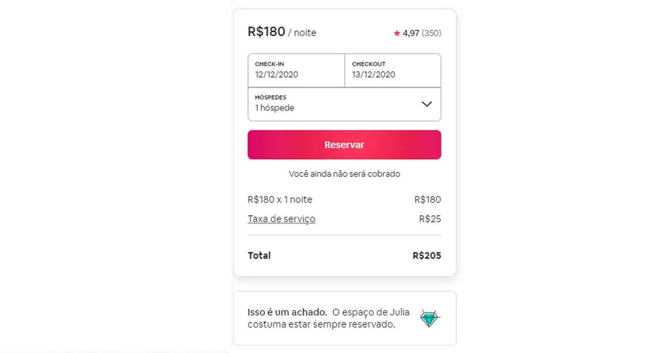 airbnb taxa de serviço