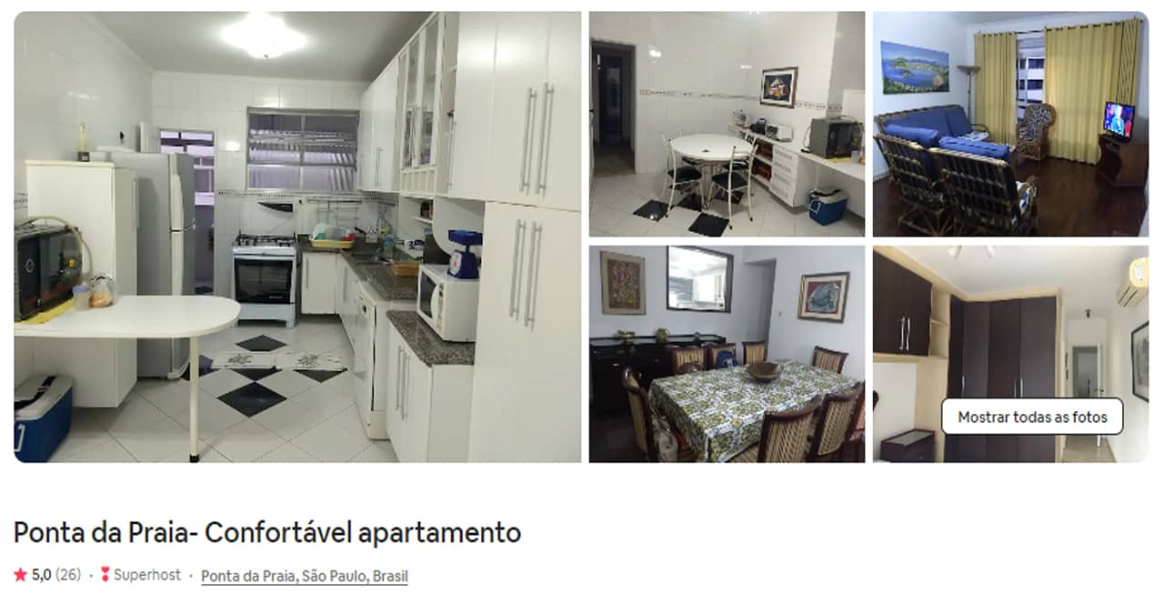 Airbnb Santos Ponta da praia