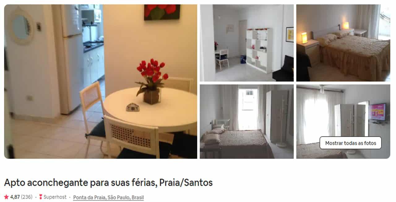 Airbnb Santos fortaleza da barra