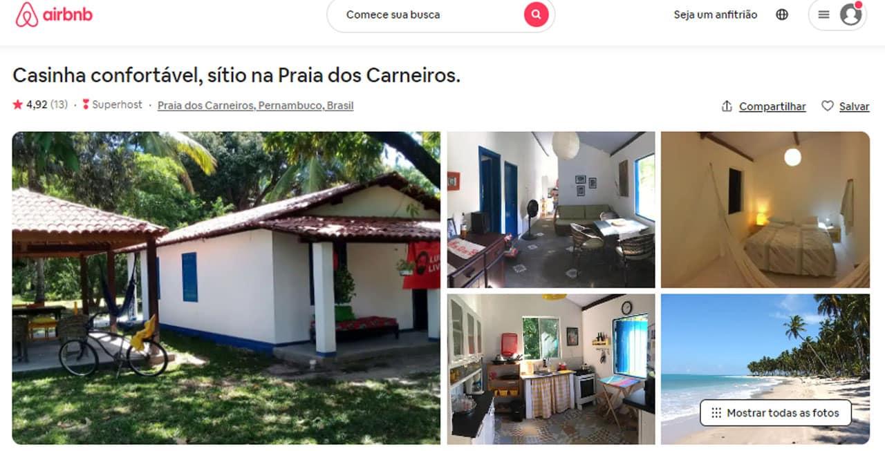 Mapa do Airbnb em Carneiros